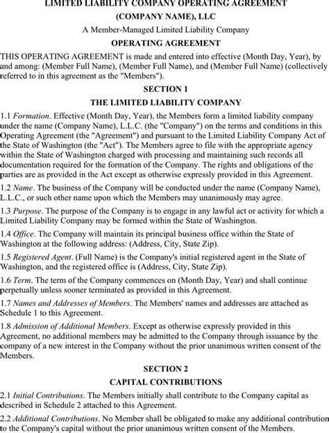 limited liability company operating agreement template limited liability company operating agreement for