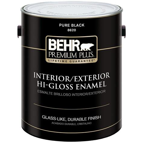 behr premium plus 1 gal black hi gloss low voc interior exterior paint 2862001 the home depot