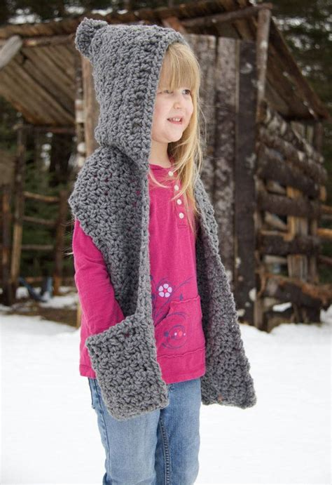 Free Knitting Pattern For Hooded Scarf With Pockets