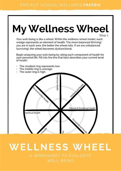 worksheets wellness wheel worksheet opossumsoft