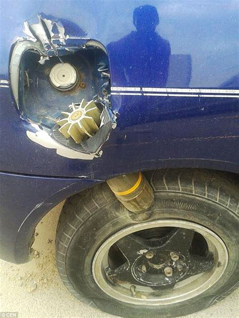 how does it take for mortar to motorist finds live mortar wedged in the bodywork of his