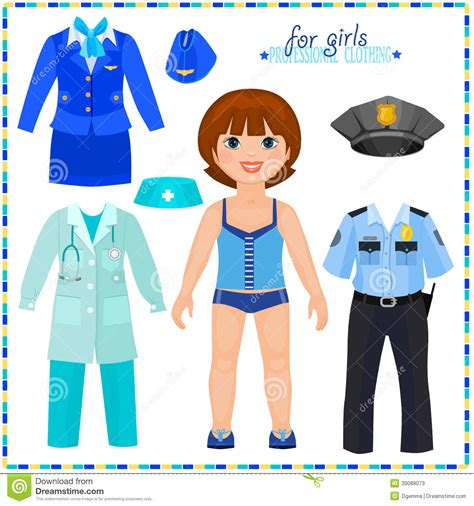 paper doll with a set of professional clothings stock
