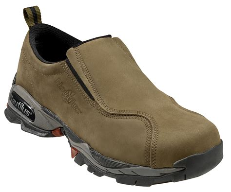 nautilus mens steel toe athletic slip on m moss nubuck
