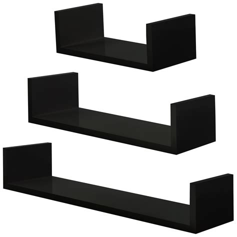 Black Decorative Wall Shelves Black Shelves Set Wall Mounted Bookshelf Decorative