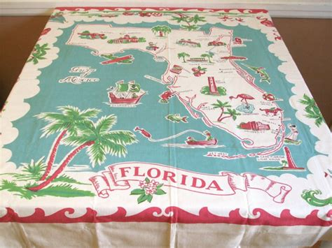 vintage tablecloth turquoise decor florida map