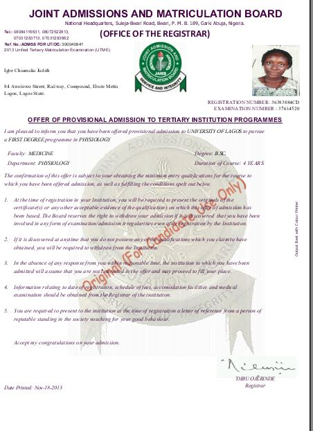 Acceptance Letter In Nigeria Help Jamb Admission Letter Says No Admission Yet Am In 400level Education Nigeria