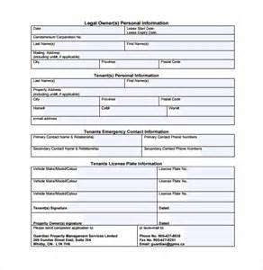 tenant information sheet template sle tenant information form 10 free