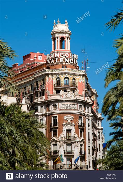 banco valencia banco de valencia in city of valencia spain stock photo