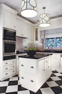 Black And White Kitchen Floor Checkered Floor Contemporary Kitchen Traditional Home