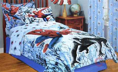 spiderman comforter set full spiderman full comforter bedding 5pc set w black spider ebay