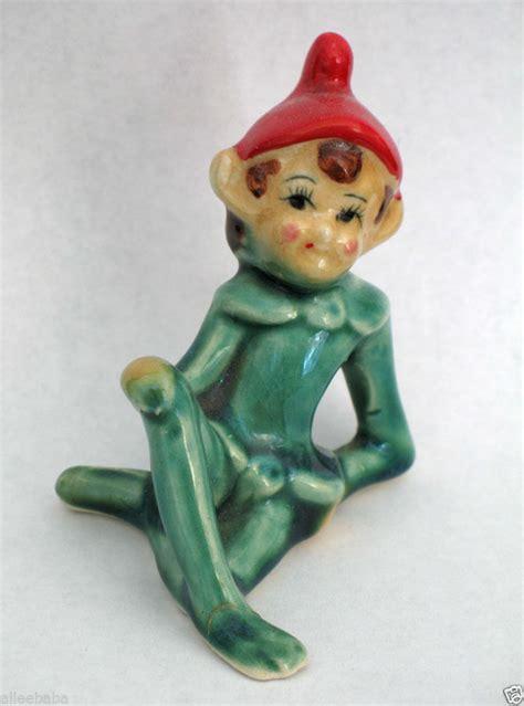 On The Shelf Figurine by Vintage 1950s Pixie Shelf Figurine Reclining Green Hat Japan Elves