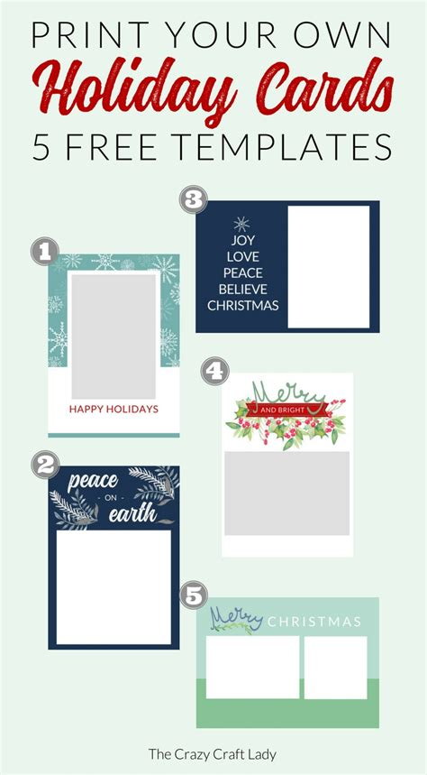 free printable christmas cards no download free christmas card templates the crazy craft lady