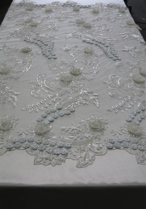 white beaded lace white mesh with embroidery beaded lace and sequins