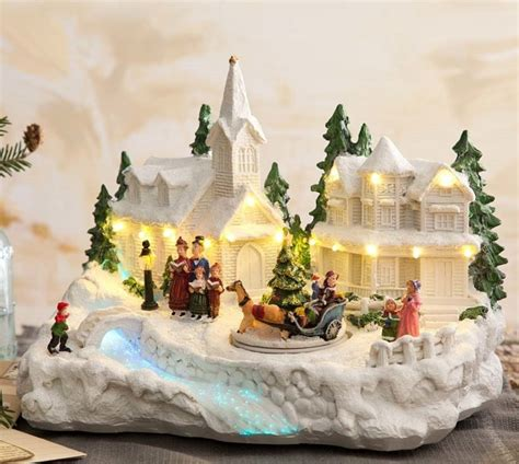 holiday memories lighted village and train music box box