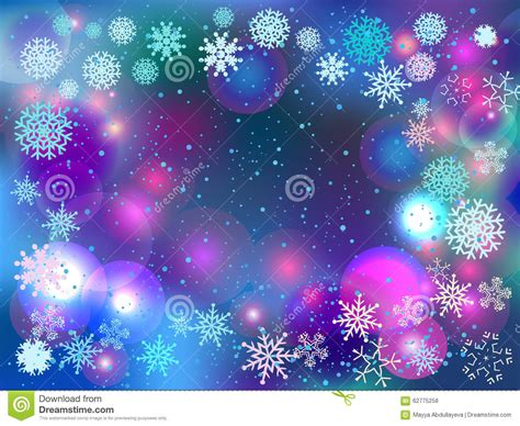 colorful winter wallpaper winter background with lights and snowflakes stock vector