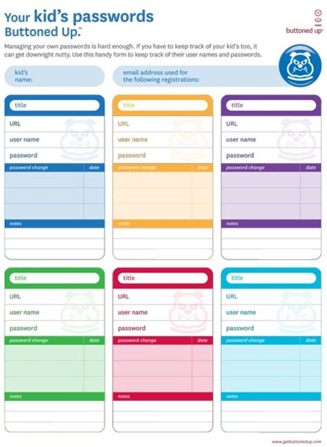 Downloadable Form To Keep Track Of Kids Passwords Download Organization Organization Tips Printing Website Template Free