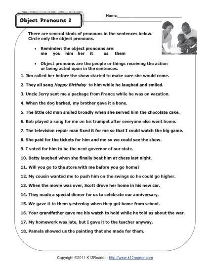 object pronouns 2 pronoun worksheets