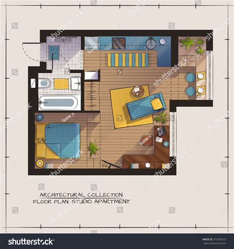 17 best images about architecture colored floor plan on architectural color floor planstudio apartment one stock