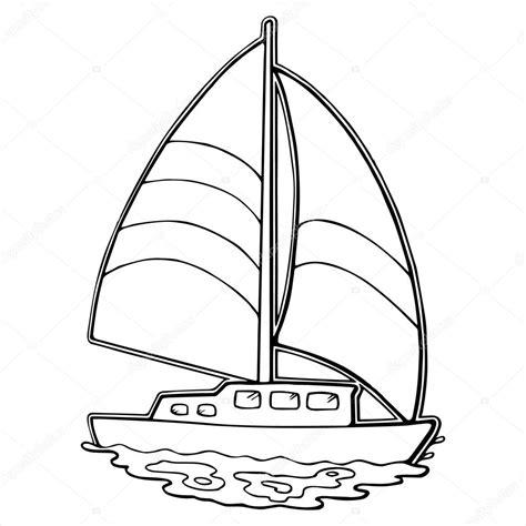 barco animado blanco y negro sailboat cartoon illustration isolated on white stock