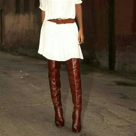 cognac colored boots cognac the knee leather boots yu boots