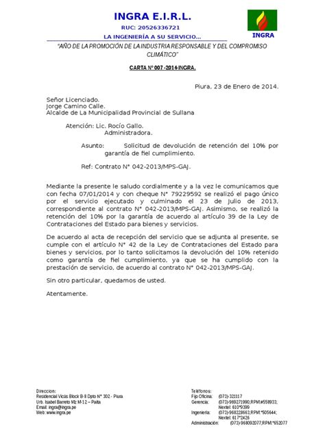 Carta De Cancelacion De Un Cheque Carta Para Solicitar Devoluci 243 N De Garantia