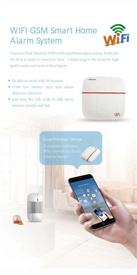 vcare smart gsm gprs wifi alarm system elderly care