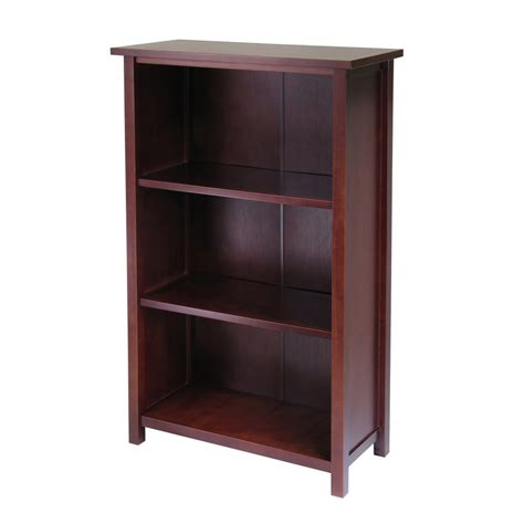 shop winsome wood milan antique walnut composite 3 shelf