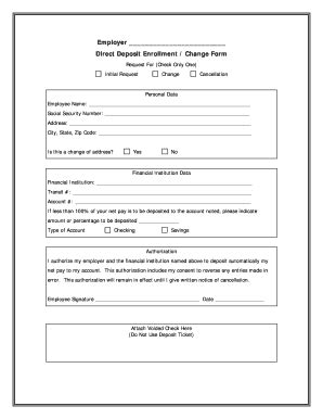 template direct deposit form template