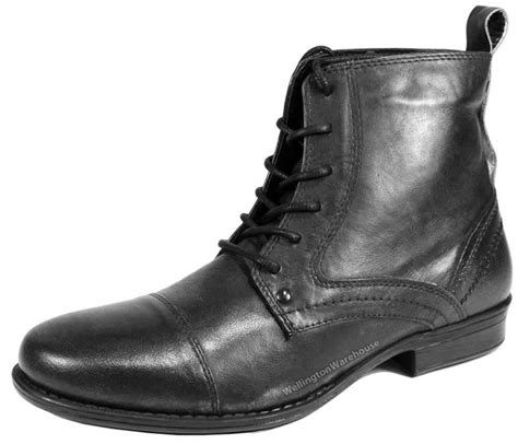 black leather boots mens kelso mens leather lace combat army boots black