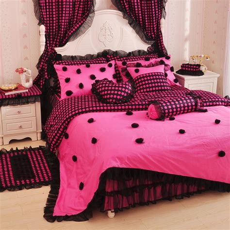 black and pink bed sets pink bedding and pink polka dot lace