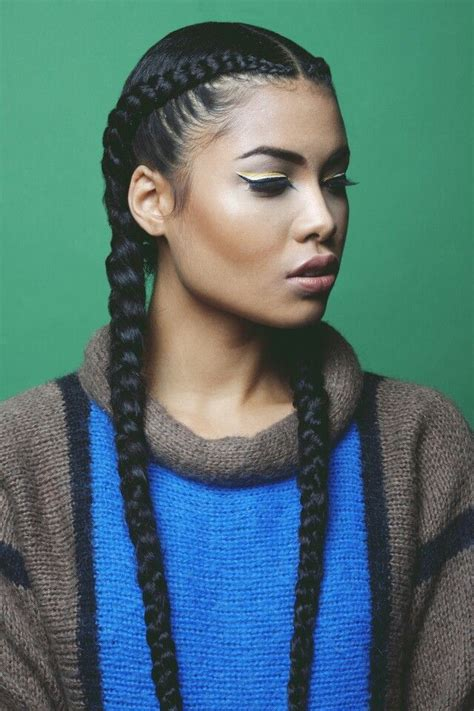 two cornrow braided hairstyle goddess braids protective hairstyles pinterest