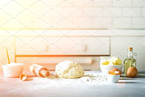 baking background cooking ingredients  dough eggs flour sugar butter rolling pin