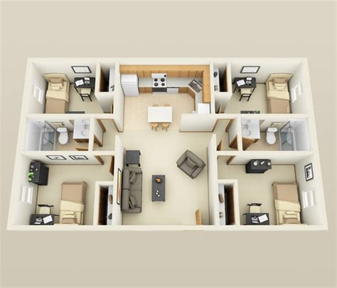 4 Bedroom Housing | 4 bedroom apartment house plans