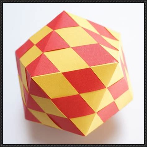 Square Craft Paper - woven icosahedron free paper craft