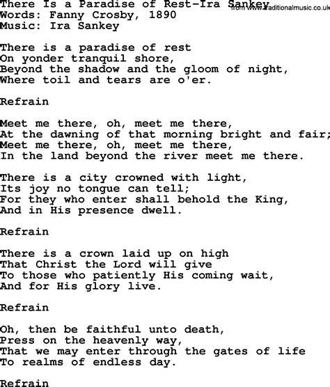 There S A Place Of Rest Lyrics There Is A Paradise Of Rest Ira Sankey Txt By Ira Sankey Christian Hymn Lyrics