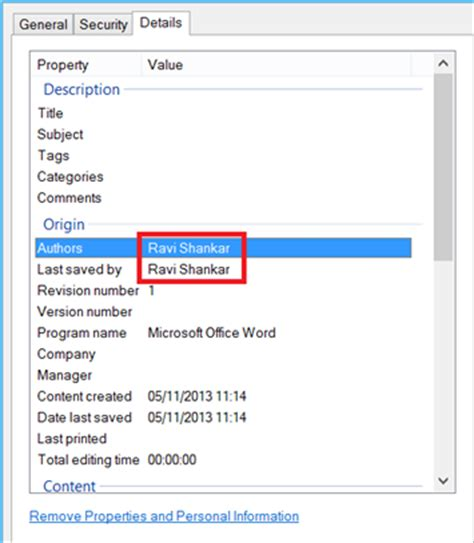 remove author name from file properties in word