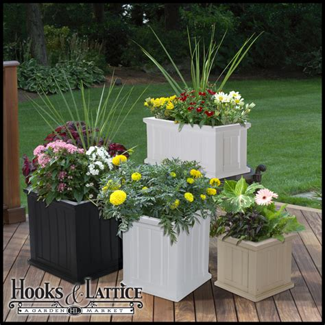 Patio Planters by Self Watering Plastic Planter Boxes Patio Planter Hooks