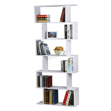 foxhunter pb 6 tier s shape bookshelf bookcase display