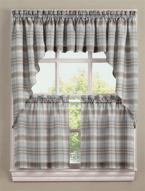 Kitchen Curtains Swags Dawson Kitchen Curtains Blue Lichtenberg Jabot Swag Kitchen Curtains