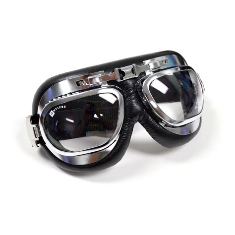 classic pilot aviator lens motorcycle goggles chrome black leather ebay