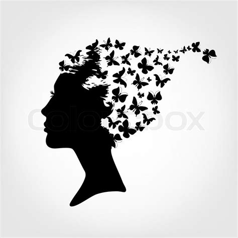 Female silhouette and butterfly   Stock Vector   Colourbox
