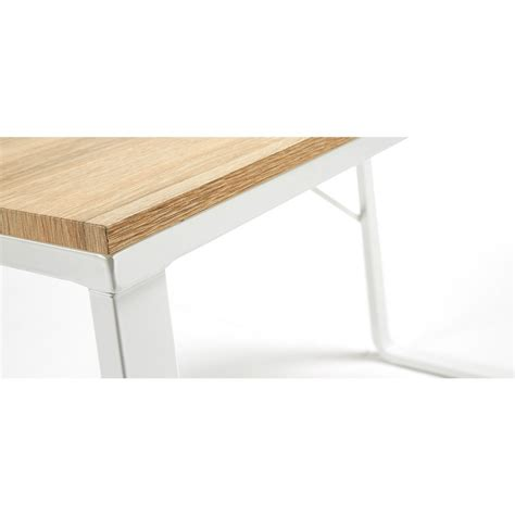 Bureau design structure en métal blanc et plateau en bois