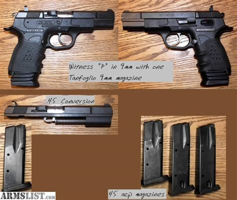 eaa witness barrel conversion armslist for sale eaa witness quot p compact quot 9mm 45 acp