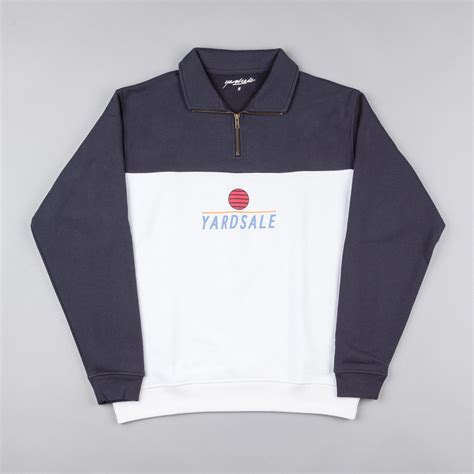 sle of zip file yardsale quarter zip sweatshirt navy white flatspot
