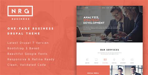 drupal themes envato nrgbusiness powerful one page business theme by