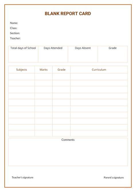 blank template for report card 17 report card template 6 free word excel pdf