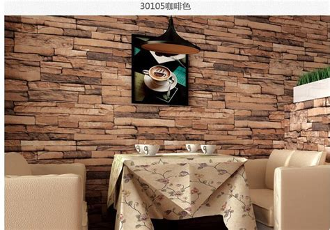 luxury home decor combined with wooden and brick wall 3d wood blocks effect brown stone brick 10m vinyl