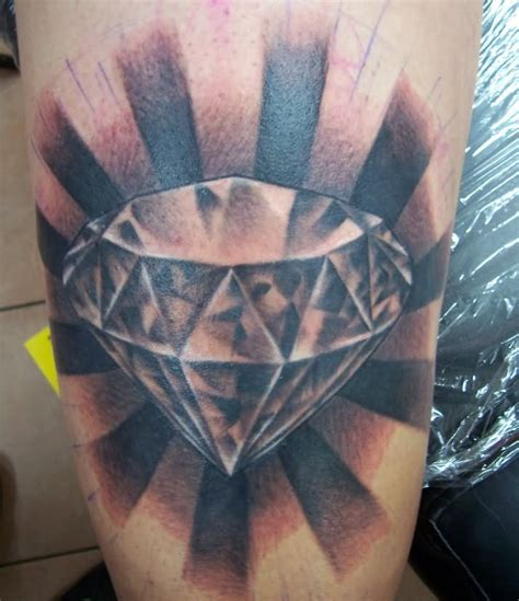 diamond tattoos for men black and grey realistic 3d on wrist by