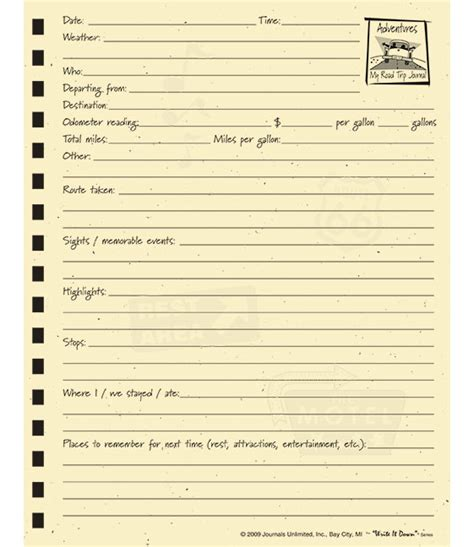 trip journal template road trip journal journals unlimited