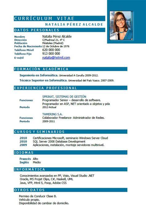 Modelo Curriculum Vitae Informatica Curr 237 Culum Inform 225 Tica Ejemplos De